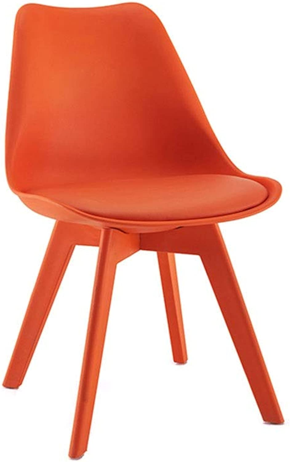 Zcxbhd Plastic Dining Chairs - Retro Natural Legs with Cushioned Pad Contemporary Designer for Office Lounge Dining Kitchen (color   orange)