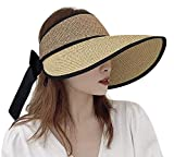 Rollable Sun Visor Straw Hat Wide Brim Sun Protection Hat Floppy Breathable Visor Hat with Bowknot Tie Light Adjustable Summer Hat for Travel Beach Sports Cycling Fishing Camping Boating Golf Hat
