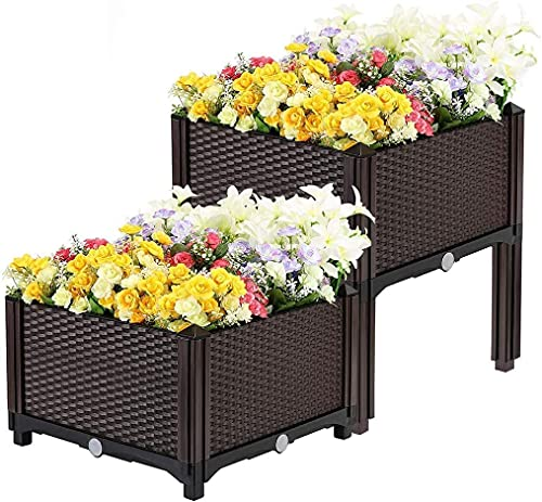 Taylor & Brown Set Of 2 Elevated Plastic Raised Garden Bed Planter Box Kit Rattan Effect For Flower Vegetable Herbs With Water Design & Drainage Holes - Brown
