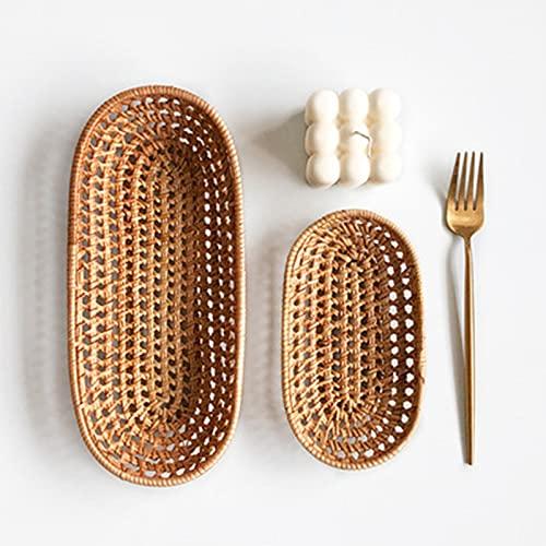 WXXMZY Plato de fruta seca tejida de ratán, plato de fruta, soporte de toallas, bandeja pequeña tejida de caramelo de mesa, cesta de palillos, cuchillo y caja de almacenamiento de tenedor (tamaño: S)