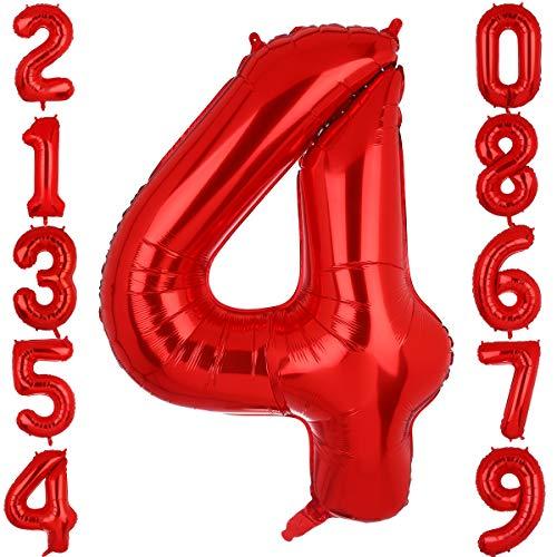 Big Eye Owl Globos de 100 cm, tamaño grande, color rojo, número 4, de plástico Mylar gigante, globos de helio, para cumpleaños o fiestas