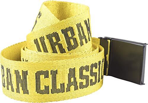 Urban Classics Jaquard Logo Belt Cintura, Multicolore (Blk/Yellow/Blk 01421), 120 cm Uomo