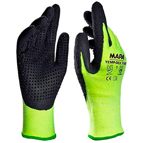 MAPA Temp-Dex 710 Nitrile Lowweight Glove, High Temperature, 10-1/4' Length, Size 7, Black/Green