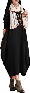Women Maxi Sleeveless Dress Plus Size Pockets Loose Swing Tank Tunic Dress White/Red