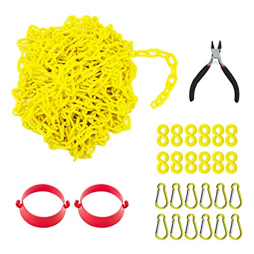 Reliabe1st 50 Feet Yellow Plastic Safety Barrier Chain with 12 S-Hooks and 12 Carabiner Clips and 2 Cone Chain Connector Kits | Caution Security Chain Safety Chain for Crowd Control, Construction Sit