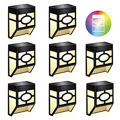 WAYKE Solar Wall Lights Outdoor, Warm White/7 Color Changing Deck Lights, 2 Modes Solar Led Waterproof Lighting for Deck, Fence, Patio, Front Door, Back Yard, Stair, Landscape Driveway Path, 8 Pack