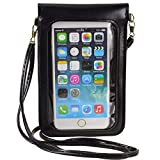Touch Screen Cell Phone Purse Wallet Cute Small PU Leather Crossbody Bag for iPhone 11 XR XS Max 8 Plus 7 Plus, Galaxy Note10 A20 S10 Plus S9 Google Pixel 3a Xiaomi Mi 9T Redmi Note 6 Pro (Black)