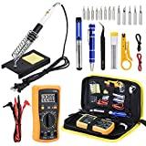 Wmore Soldering Iron Kit with Multimeter,110V 60W Adjustable Temperature Welding Tools,Desoldering Pump,Soldering Stand,Screwdriver,Soldering Tips,Solder Wire