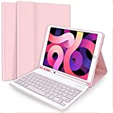 iPad Keyboard Case, Jsvacva iPad Case Keyboard 10.2'' 8th 7th Generation, Wireless Detachable BT Keyboard Case Built-in Pencil Holder Compatible with iPad 10.2''/iPad Air 3/iPad Pro 10.5 - Pink