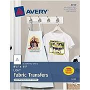 Avery Printable T-Shirt Transfers, For Use on Light Fabrics, Inkjet Printers, 18 Paper Transfers (8938)