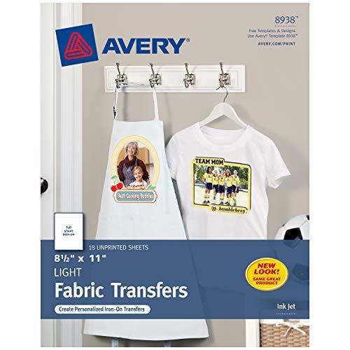 Avery Printable T-Shirt Transfers, For Use on Light Fabrics, Inkjet...
