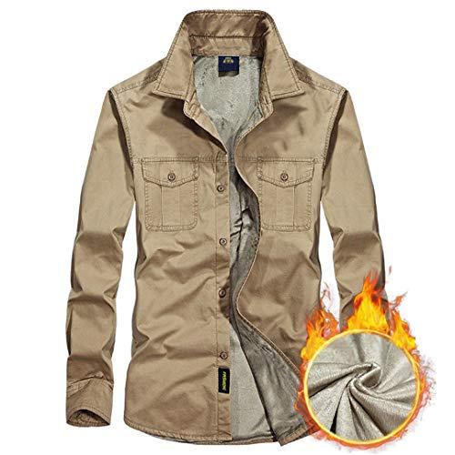 Fleece Shirts Männer Winter Verdicken Warm Army Green Langarm Shirt Lässig Militärkleidung Shirts Top Khaki CN Size 4XL