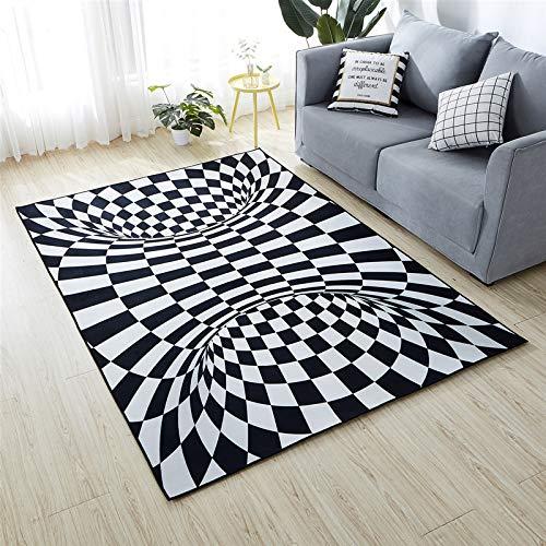 NOBCE Alfombra Estera de Payaso Estéreo 3D Color Blanco y Negro Ilusión óptica geométrica Alfombra Sala de Estar Alfombra de Dormitorio 160X230CM