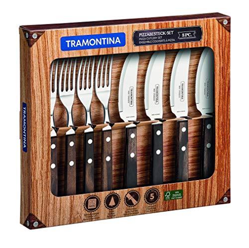 Tramontina 29899/311 Set de 8 couverts à pizza en acier inoxydable AISI 420 et bois véritable