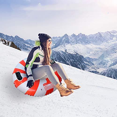 Bumplebee Aufblasbare Schlitten für Erwachsene Kinder, Snow Tube Reifen Verdicken Kälteschutz Schwerlast Schneereifen Rodelreifen mit Sicherheit Griffen (Mehrfarbig 1)