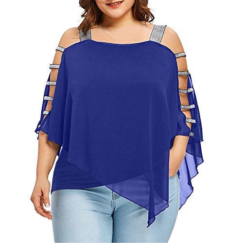 VEMOW Heißer Sommer Gnade Frauen Damenmode Plus Größe Leiter Cut Overlay Asymmetrische Bluse Trägerlosen Tops(X1-Blau, 48 DE / 3XL CN)