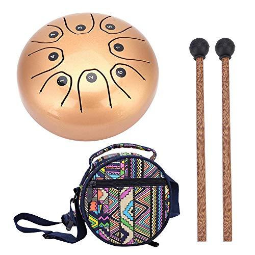 Stahl Hand Drum Tongue Trommel Schlaginstrument Handtrommel mit Schlagstock für Meditation Yoga Klangheilung(golden)