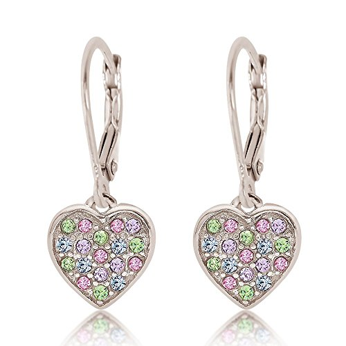 925 Sterling Silver Mixed Colored Crystal Heart Earrings