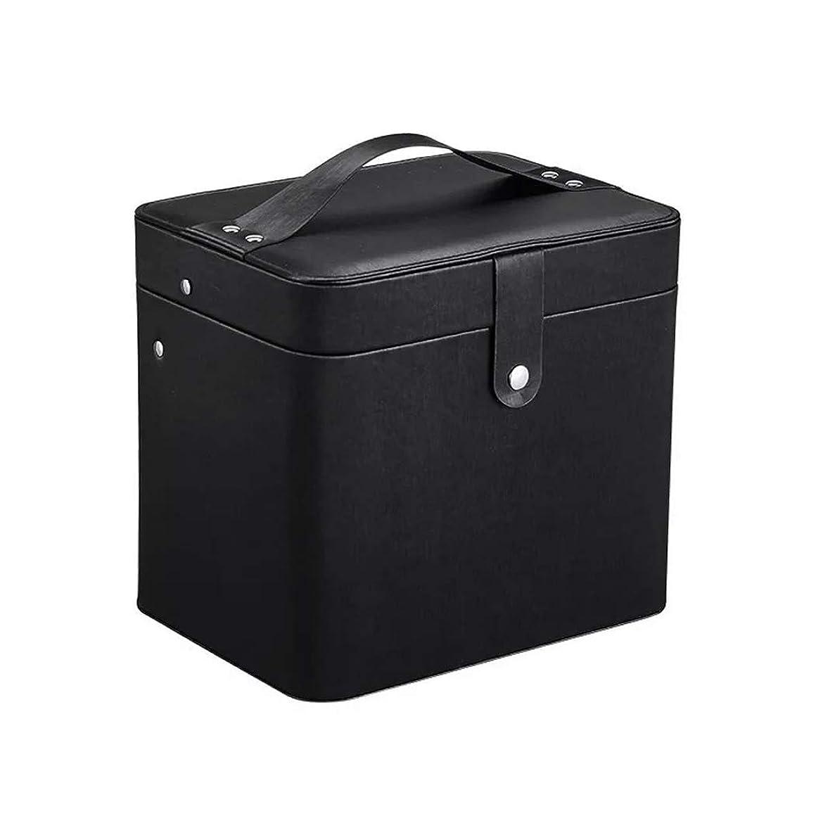 カニあいさつ気分が良いSZTulip コスメボックス メイクボックス 大容量収納ケース メイクブラシ化粧道具 小物入れ 鏡付き 化粧品収納ボックス (ブラック)