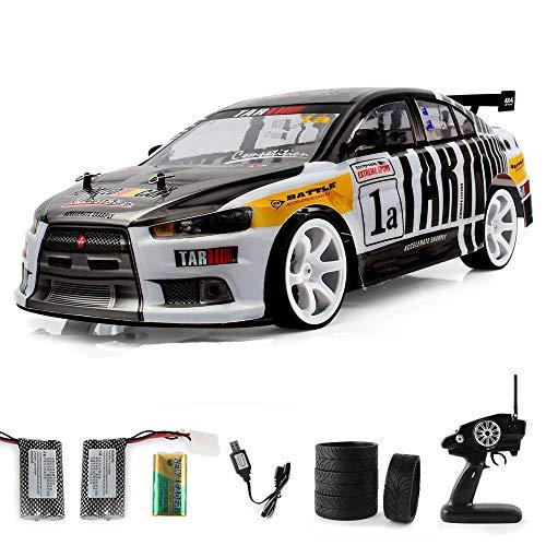 Quaan 1:10 70km / h 2.4G RC Auto 4WD Doppel Batterie High Power LED Scheinwerfer Racing Truck Beschleunigen Automodell Spielzeug (Schwarz)