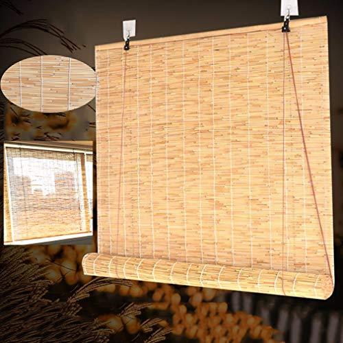 Geovne Persiana de Bambú Sombreado,Persianas Enrollables Natural,Persiana Enrollable de Bambú,para Exterior/Terraza/Puerta,se Puede Personalizar (130x150cm/51x59in)