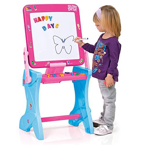 Pupitre Infantil con Pizarra Molto - Pizarra Normal, Pizarra magnética, rotuladores, Piezas (Pupitre Magnético 3 en 1 - Rosa)