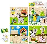 Lena Granja, 4 puzles Diferentes de Madera 100% certificada FSC, 4 Puzzles de 4 Piezas Cada uno, Juego para niños pequeños a Partir de 18 Meses, Multicolor (SIMM Spielwaren GmbH 32150EC)