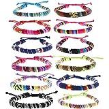 FROG SAC 12 PCS Ethnic Tribal Bracelets for Women and Men, Woven Friendship Bracelets for Teens, VSCO Girl Boho String Bracelets, Girls Adjustable Stackable Bracelet Pack