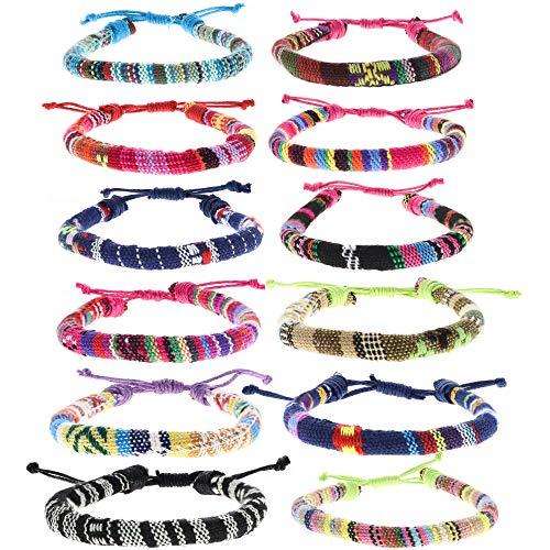 FROG SAC 12 PCS Ethnic Tribal Bracelets for Women and Men, Woven Friendship...