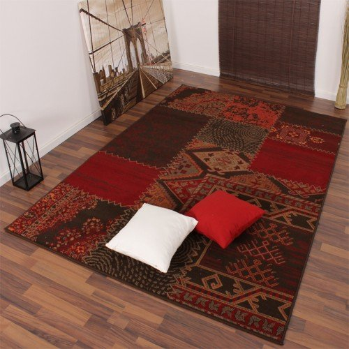 PHC Moderner Designer Teppich Muster Rot Braun Patchwork, Grösse:60x110 cm