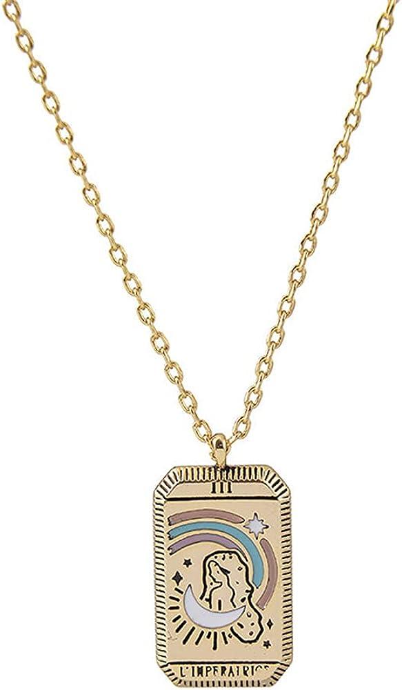 Pingyongchang Bohemian Tarot Necklace Multi-Element Necklace Star Moon Lovers Goddess Power World Tarot Jewelry Woman Man Girl Boy