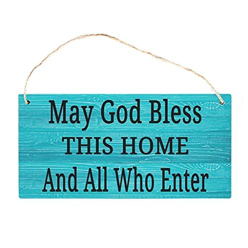 Knowikonwn Dios bendiga esta casa cartel de madera clásico para decoración del hogar personalizada, cartel decorativo de madera blanco 3 25 x 12,5 cm