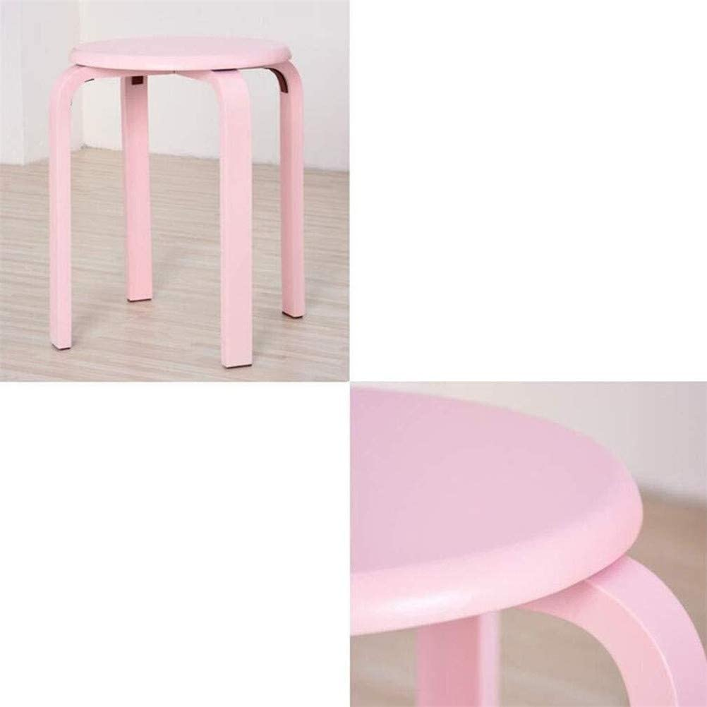 Tabouret en bois, Chaise couleur bonbon Stacking Tabouret, quatre pieds Tabouret en bois courbé naturel Pack 2 (Color : G) D