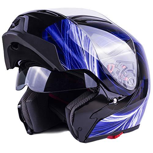 Typhoon G339 Modular Motorcycle Helmet DOT Dual Visor Full Face Flip-up - Blue Small