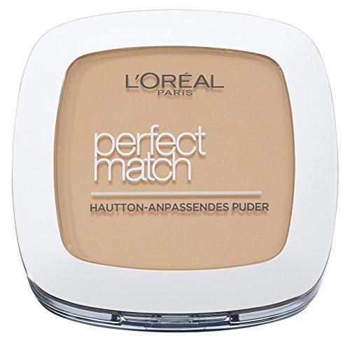 L'Oréal Paris Puder Make up, Mattierendes Kompaktpuder mit LSF 8, Inkl. Spiegel und Schwamm, Perfect Match Puder, Nr. 5.D/5.W Golden Sand, 9 g