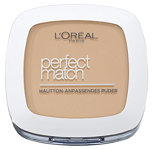 L\'Oréal Paris Perfect Match Compact Puder, W5 Golden Sand / Make Up Puder mit individueller Deckkraft und LSF, für jeden Hauttyp / 1 x 9 g