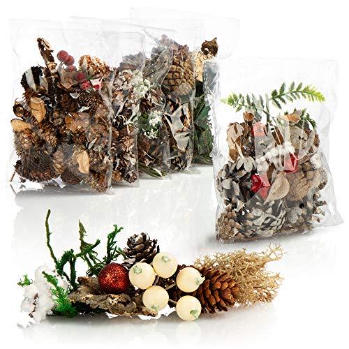 com-four® 6X Weihnachtsdekoration im Beutel mit Zapfen, Zweigen und Moos - Streudeko weihnachtlich - Bastel Set - Tischdeko - Adventskranz - Weihnachtsschmuck (6X Beutel: Zapfen. Zweige. Moos)
