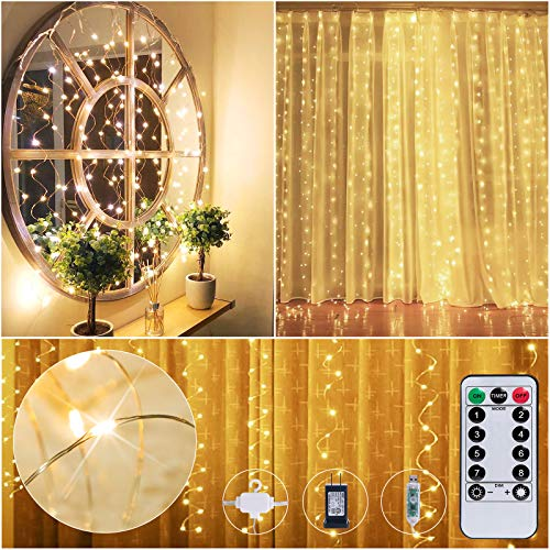300 LED Curtain Lights 9.8 X 9.8 Feet String 8 Light Mode with Remote Dimmable USB Adapter Hook for Valentines Day Party Bedroom Bathroom Room Backdrop Window Decor Twinkle Fairy Lights Warm White