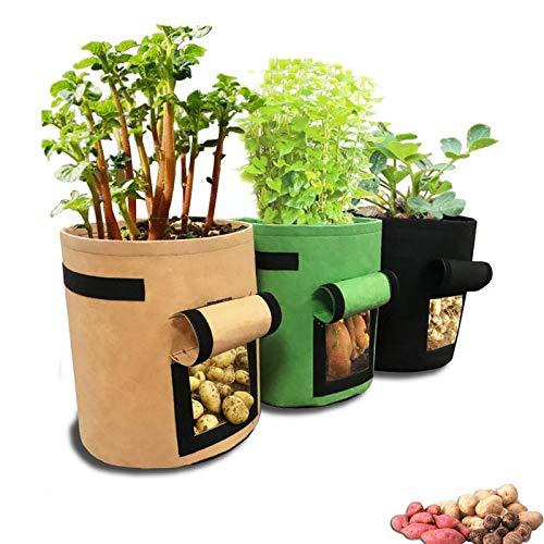 gotyou 3 PCS Kartoffel Pflanzsack Vliesstoff Pflanzsack,Pflanzen Tasche mit Fenster Klettverschluss Tragegriffen,Dauerhaft Vliesstoff AtmungsaktivBeutel(Braun,Grün,Schwarz)
