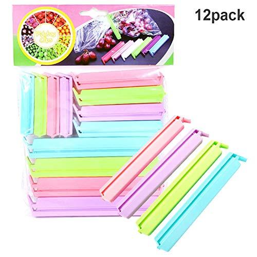 12PCS Mehrfarben-Beutelclips Kunststoff für Lebensmittelclips Beutelversiegelungsclips 3 Größen Candy Colors Bag