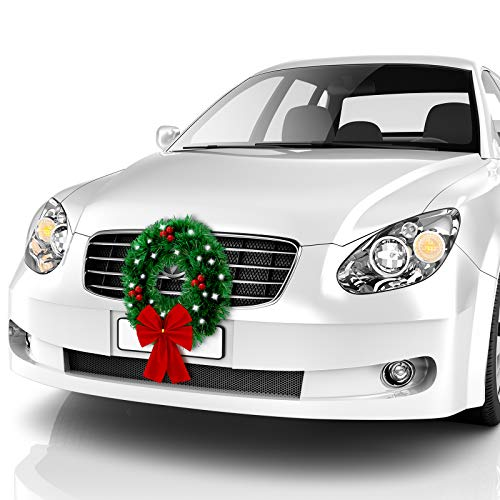 BBTO Christmas Car Wreath Decorative LED Car Wreath Red Bow Berries Wreath Artificial Leaves Car Wreath for Truck, or SUV, Mounting Equipment, Holiday Festival Decoration