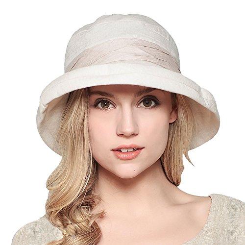 Damen Sommer Strand Hat Eimer Hut Fedorahüte großer Rand-Anti-UV Sonnenhut Faltbarer Sonnenhut (Beige)