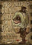 zaishuiyifang Carteles E Impresiones De Pintura En Lienzo Animal Bebiendo Cerveza Arte De Pared De Dibujos Animados Decoración del Hogar Pintura Colgante Sin Marco B2397 50X70Cm