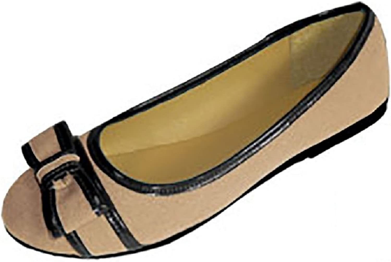 Womens Canvas Ballerina Ballet Flats shoes W Bow & Patent Trim (7 8, Nude Black 4043)