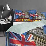 Nomorer Bed Sheets Twin Size, Union Jack Duvet Cover 3 Piece - Union Jack Flagon Pole and Big Ben Taxi Cab Urban Modern Country Symbols Image, Multicolor