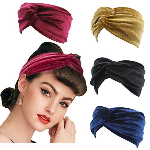 4 pcs Stirnbänder Haarband Retro Velvet Knoten Kopfband Stirnband Haarreif Haargummi Samtstirnband Kopftuch turban Yoga Sport Damen