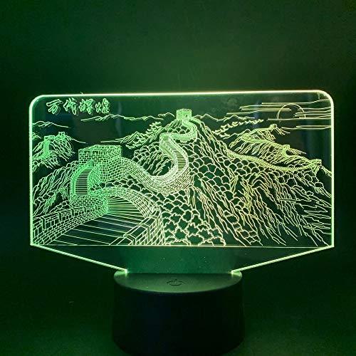 Sanzangtang Led-nachtlampje, 3D-visionzeven, kleuren-afstandsbediening, Chinese Scenic Great Wall slaapkamerdecoratie, verlichting voor kinderen, lief cadeau-nachtlampje
