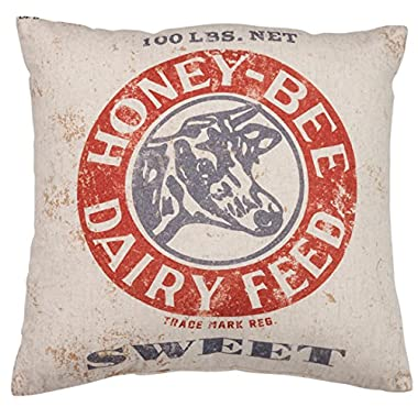 Primitives by Kathy Vintage Feed Sack Style Honey-Bee Dairy Throw Pillow, 14-Inch Square