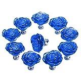 PUQU 10 Pcs Diameter 50mm Clear Crystal Glass Cabinet Door Knobs Handles Pulls Cupboard Handles Drawer Wardrobe Hardware Furniture Decoration DIY (Dark Blue)