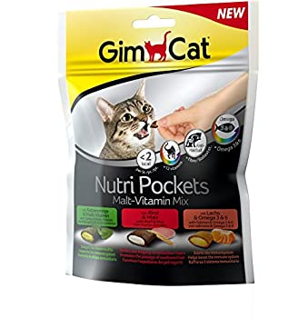 GimCat Nutri Pockets Malt-Vitamin Mix– Snack croustillant pour chats, avec une farce crémeuse et des ingrédients fonctionnels – 1 sachet (1 à 150 g)